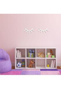 Escultura De Parede Em Mdf Cílios Infantil Branco - Médio