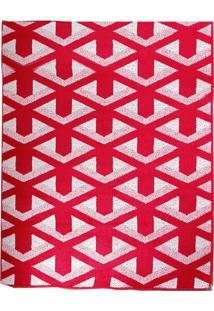 Tapete Andino Geométrico Ii Retangular Polipropileno (50X80) Vermelho