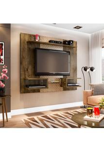 Painel Para Tv Até 55 Polegadas Atlas Madeira Rústica E Madeira 3D