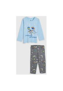 Pijama Brandili Longo Infantil Dinossauro Azul/Cinza