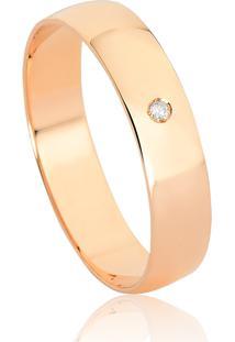 Aliança De Ouro Rosê 18K Reta Abaulada Com Diamante