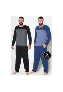 Kit 2 Pijama Bella Fiore Modas Masculino Manga Longa Sortidos
