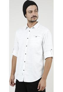 Camisa Masculina Bbb Tradicional Mescla Com Bolsos Manga Longa Off White