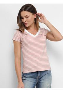 Camiseta Adooro! Listrada Botões Feminina - Feminino-Rosa+Branco