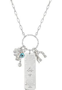Colar Com Cristal & Amuletos Banhado Á Rã³Dio- Prateado