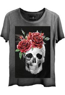Camiseta Estonada Gola Canoa Corte A Fio Skull Smiling