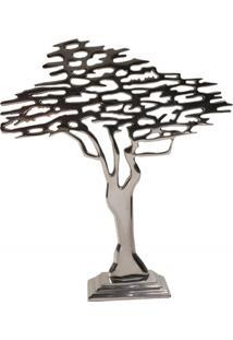 Escultura Em Alumínio Árvore Liat 42Cm Prata
