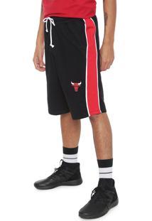Bermuda Nba Reta Chicago Bulls Preta/Vermelha