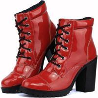 645665f84f Bota Sapato Fran Coturno Cano Baixo Feminina - Feminino-Vermelho