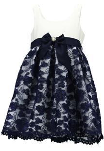 Vestido Pipoca Doce Shantung Com Tule Bordado Azul-Marinho
