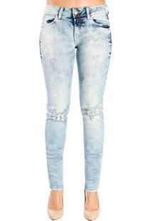 Calça Jeans Destonada Leve Destroyed Skinny Detalhe 3D Katy Colcci