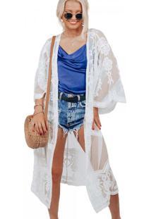 Kimono Longo Bordado
