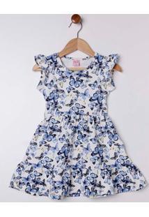 Vestido Cotton Infantil Para Menina - Azul