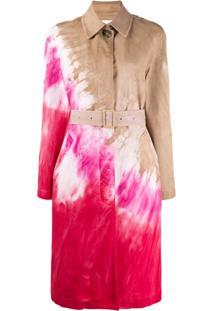 Msgm Trench Coat Com Estampa Tie-Dye - Neutro