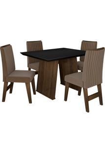 Conjunto De Mesa Para Sala De Jantar Com 4 Cadeiras Vigo -Dobuê Movelaria - Castanho / Preto / Castor Bord