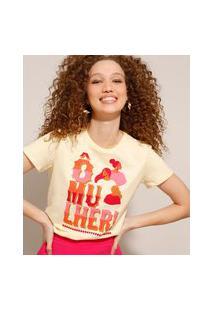 """Camiseta De Algodão Com Estampa """"Ô Mulher"""" Manga Curta Amarelo Claro"""
