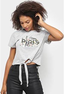 Camiseta Sofia Fashion Cropped Paris Nó Feminina - Feminino-Cinza