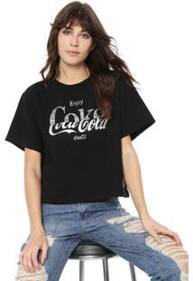 Camiseta Coca-Cola Jeans Lettering Aplicações Preta