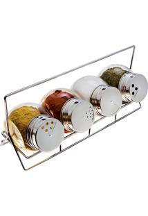 Porta-Condimentos Com Suporte E Dosador 4 Peças - Euro Home - Transparente