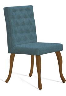 Cadeira De Jantar Leonardo Da Vinci I Capitonê Linho Azul