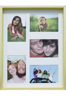 Quadro Para Fotos Wood Natural E Amarelo 30X40Cm