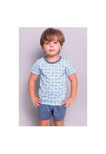 Pijama Serra E Mar Modas Infantil Menino Curto Azul