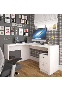 Mesa Para Computador/Escrivaninha 2 Gavetas Space Branco - Urbe Móveis