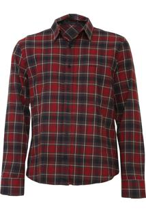 Camisa John John Reta Xadrez Marrom/Vermelho