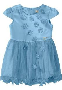Vestido Azul Claro Godê Com Tule