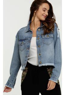 Jaqueta Jeans Feminina Cropped Destroyed Marisa