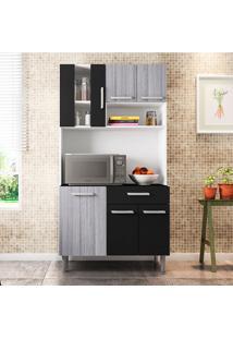 Cozinha Compacta Com Tampo Carol - Poliman - Branco / Cinza / Preto