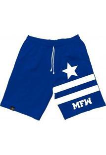 Bermuda Moletom Mfw Army Star Com Bolsos Masculina - Masculino-Azul