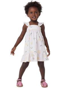 Vestido Infantil Menina Em Tricoline Estampado Tod