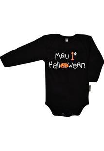 Body Manga Longa Bebê Nigambi Meu 1º Halloween Masculino - Masculino-Preto