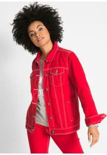 Jaqueta Jeans Com Contraste Vermelho