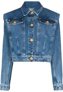 Versace Jaqueta Jeans Cropped - Azul