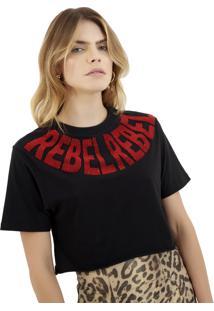 Camiseta Rosa Chá Rebel Malha Preto Feminina (Preto, P)