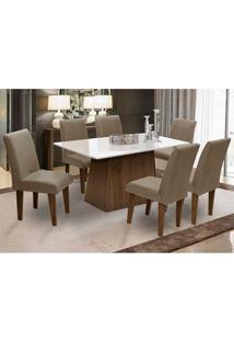 Conjunto De Mesa Para Sala De Jantar Com 6 Cadeira Florença Fit - Dobue - Castanho / Branco Off / Mascavo