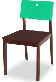 Cadeira Flip Cor Cacau Com Encosto Verde Anis