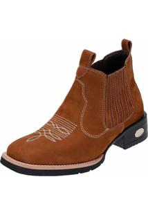 Bota Botina Em Couro Bico Quadrado Snap Shoes Caramelo