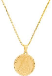 Gargantilha Santa Luzia Com Corrente Veneziana Tudo Jóias Folheada A Ouro 18K Dourada
