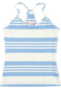 Camiseta Colcci Fun Menina Listrada Azul