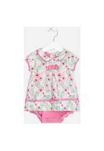 Vestido Body Infantil Em Suedine Estampa Floral - Tam 0 A 18 Meses | Teddy Boom (0 A 18 Meses) | Branco | 0-3M