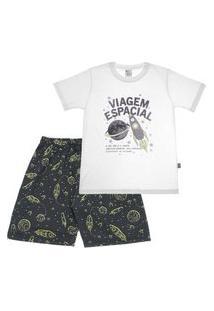 Pijama Branco - Primeiros Passos Menino Meia Malha 42651-3 Pijama Branco Primeiros Passos Menino Meia Malha Ref:42651-3-2