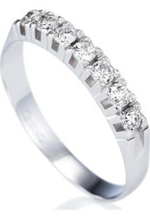 Meia Aliança Ouro Branco Diamantes