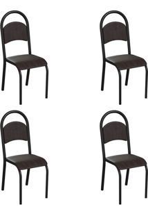 Conjunto Com 4 Cadeiras Wodon Tabaco E Preto