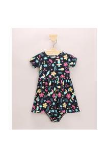 Vestido Infantil Estampado Floral E Flamingos Manga Curta + Calcinha Azul Marinho