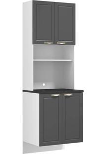 Paneleiro Suspenso Com 4 Portas Para Forno Ou Micro-Ondas Nevada 5626S-Multimóveis - Branco Premium / Grafite Premium