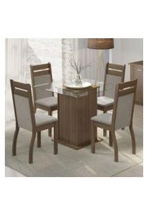 Conjunto Sala De Jantar Dijon Madesa Mesa Tampo De Vidro Com 4 Cadeiras Rustic/Crema/Pérola