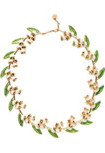Miu Miu Colar Floral - Dourado